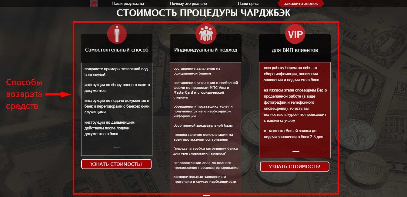 Чарджбэк Легенда 112 РФ
